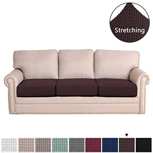 H.VERSAILTEX Super Stretch Stylish Furniture Cover/Cushions Covers Slipcover Spandex Jacquard Small Checked Pattern Super Soft Slipcover Machine Washable Individual (3-Piece Sofa Cushion, Chocolate) (Cushion Wide Sofa)