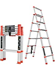 6 ft Aluminum Telescoping Ladder, Multi-Purpose Extension Ladder 12 Step for Industrial Household Daily or Emergency Use, 330 lb