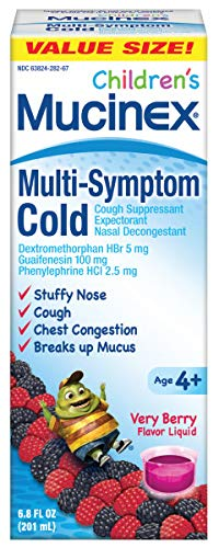 Mucinex Children's Multi-Symptom, Cold Relief Liquid, Very Berry 6.8 oz (Pack of 3)
