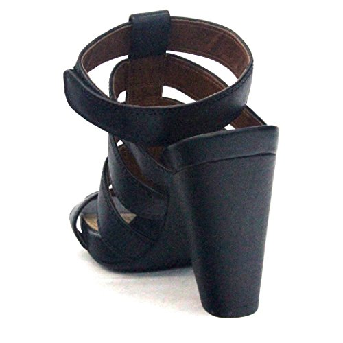 Lucky en el talón en forma de T-bar Marca y pedrería para mujer, funda de piel, estándar del Reino Unido 3,5, de £105 negro - negro