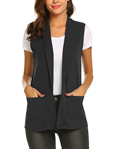 Aimado Casual Cardigan Blazers for Women Solid Sleeveless Notched Collar Waistcoat(Black,XX-Large) by Aimado