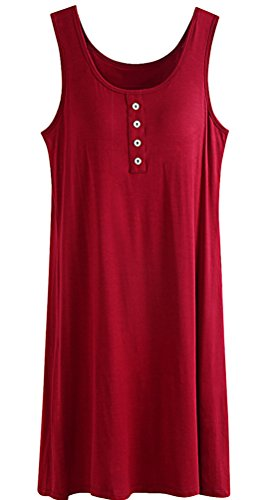 Bra Dress In Built (Womens Built-in Bra Padded Strap Camisole Tanks Tops Burgundy M)