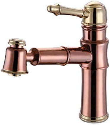 CLJ-LJ バスルームのシンクは、ホットとコールド流域の蛇口、洗面台スロット付き浴室の洗面台のシンクホットコールドタップミキサー盆地ブラックブロンズヨーロピアンスタイルのアンティークプルアウト流域の蛇口のフル銅ブラックをタップ