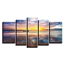 Sunding Art-Oil Paintings On Canvas 5 Panels Giclee Sea Sunrise With Modern Wooden Framed Artwork Pictures Wall Decor For Living Room and Bedroom Ready to Hang
