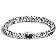 """John Hardy""""Classic Chain"""" Sterling Silver 7.5mm Chain Bracelet with Black Sapphire"""