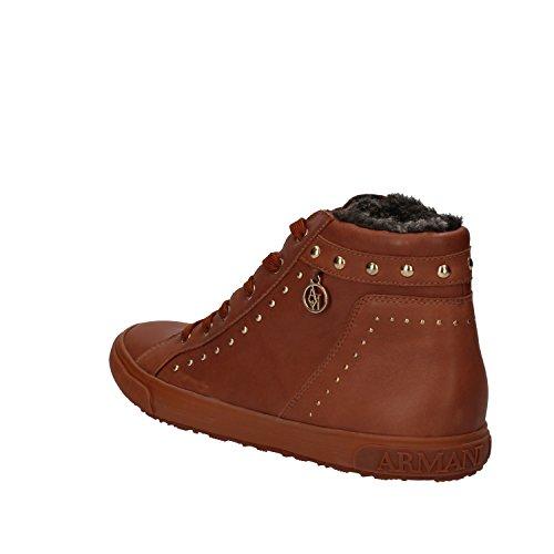 ARMANI JEANS Sneakers Donna 40 EU Marrone pelle Borchie AE420