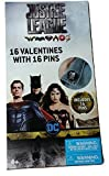 Justice League Valentines with Lapel Pins 16 Count