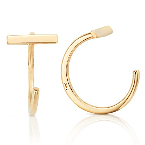 14k Contemporary Earrings (Simple Single Bar Slip On Earrings in 14K Yellow Gold)