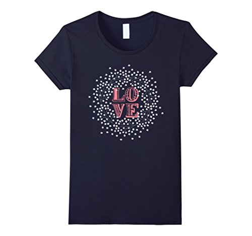 Womens LOVE: flowered wreath design tee for Spring or Summer Large Navy Navy Blue Flowered