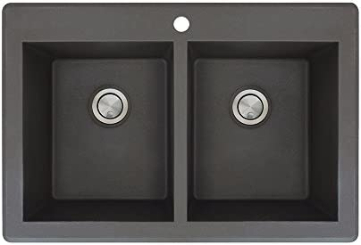 Transolid RTDE3322-09 Radius 33.0625-in x 22.0625-in x 9.5-in Granite Double Equal Drop-in Kitchen Sink with 1 Pre-Drilled Faucet Hole, Black