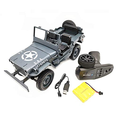 EAPTS 1:10 RC Car Q65 C606 2.4G 4WD Convertible Remote Control Light Jeep Four-Wheel Drive Off-Road Military Climbing Car Toy Kid Gift ()