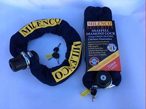 Milenco Snaefell Diamond Motorbike Motorcycle Scooter Security Lock and 2M x 22mm Chain