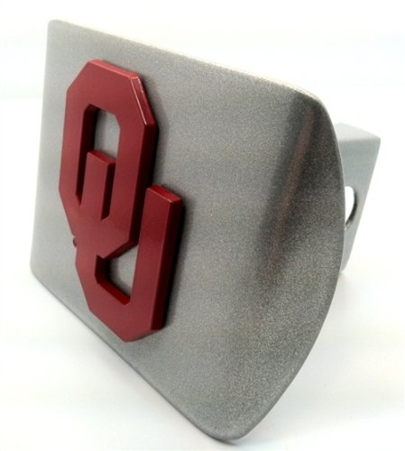 """University of Oklahoma Sooners """"Brushed Silver with """"Red OU"""" Emblem"""" Metal Trailer Hitch Cover Fits 2 Inch Auto Car Truck Receiver with NCAA College Sports Logo"""