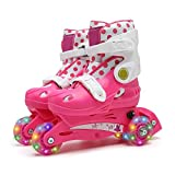 YANGXIAOYU Adult Beginners Children's Inline Skates, Professional Roller Shoes, Two in One, Anti-Collision Shock All Flash Wheel, Helmet + Protective Gear, Blue Red Pink