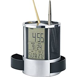 Homily LCD Display Electronic Digital Desk Table Calendar Thermometer Alarm Clock reloj despertador Pen Pencil Holder Black porta lapiz