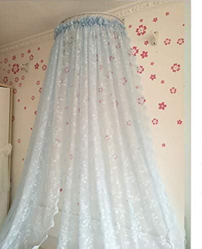 レースベッドキャノピー,白い王女のベッドカーテン 寝室のための装飾的なドレープ金属の王冠が付いている裁判所の蚊のネット-d