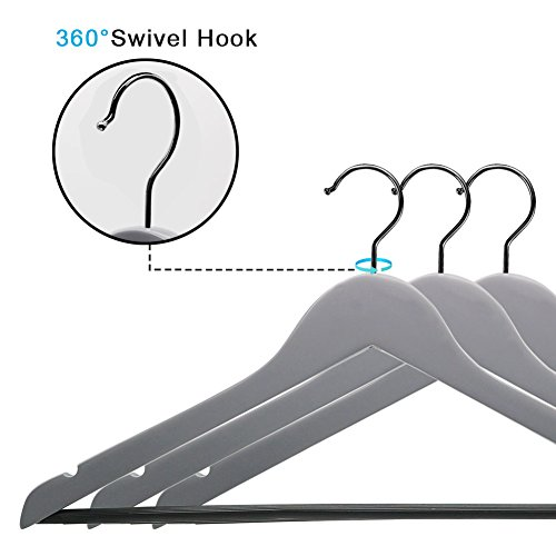Perfecasa Grade A Solid Wood Hangers 20 Pack, Suit Hangers, Coat Hangers, Premium Quality Wooden Hangers (Gray) by Perfecasa (Image #3)