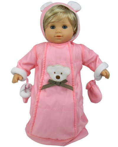 15 Inch Doll Clothes Baby Doll Snowsuit Set by Sophia's, Fits 15 Inch American Girl Bitty Baby & More! Pink Polar Bear Snowsuit, Gloves & Hood (Snowsuit Doll Clothes)