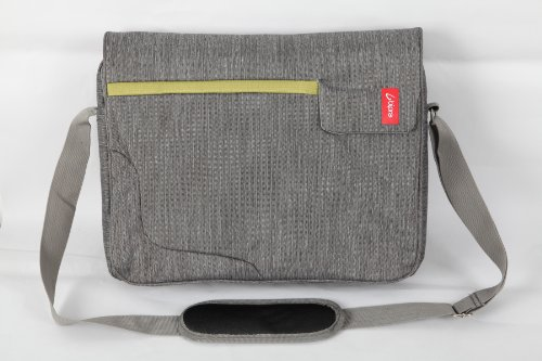 Bipra 15.6 Inch Laptop Messenger Bag Grey with Green Stripe Suitable for 15.6 Inch Fits Most Devices Netbooks, Laptop Computers, Tablets, Ipad
