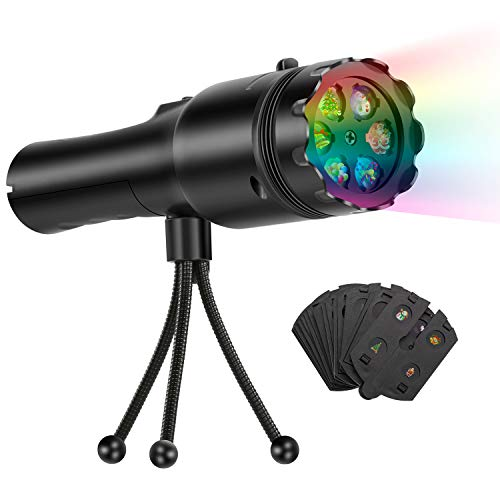 Fitfirst Handheld Projector Lights, 12 Slides Projection Holiday Lights, Battery-Operated 2 in 1 Decoration Light & Handheld Flashlight for Home Party, Birthday, Christmas, Halloween, Easter
