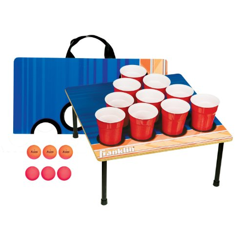Franklin Sports Portable 10 Cup Beer Pong Tailgate Game - Includes 6 Ping Pong Balls and Carry Case by Franklin Sports