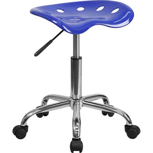 Parkside Vibrant Nautical Blue Tractor Seat and Chrome Stool by Parkside