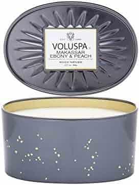 Voluspa Makassar & Ebony 2 Wick Candle In Decor Oval Tin 12.7 oz