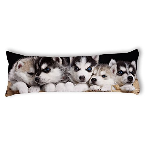 AILOVYO Dog Brothers Machine Washable Silky Shiny Satin Decorative Body Pillow Case Cover, 20-Inch x 54-Inch