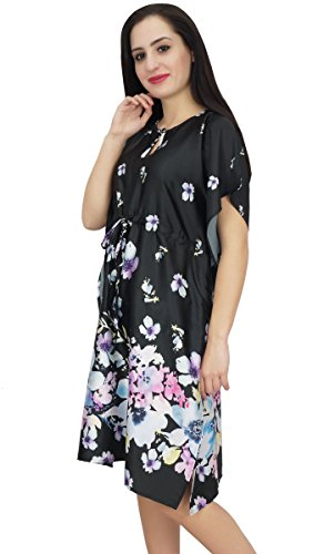 Bimba Femmes Court Kimono En Satin Imprimé Floral Noir Caftan Demoiselle D'honneur
