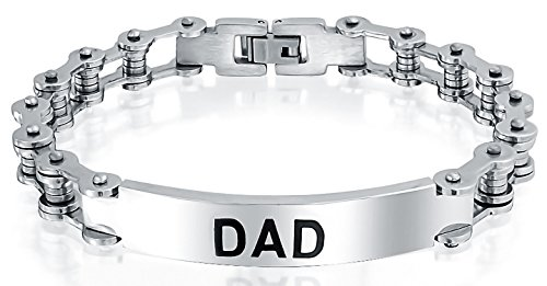 Dad Daddy Name Plate Bicycle Chain Bike Link ID Bracelet for Men Father Silver Tone Stainless Steel