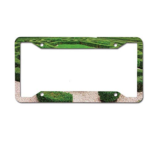 (Mrsangelalouise Photo of Symmetric Complexity Garden Park Topiary Shrub on Gravels License Plate Frame Aluminum Car License Plate Cover Tag 4 Holes and Screws)