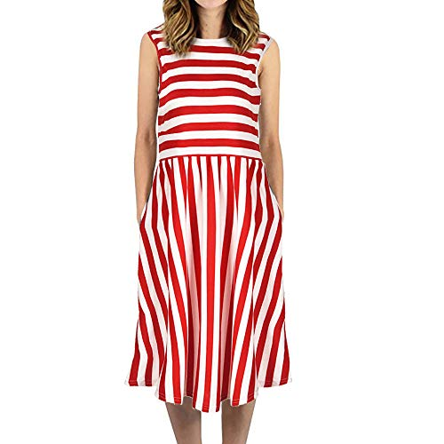 (JESPER Womens Dress Striped Sleeveless Casual Summer Beach Dresses with Pockets Dress US 8/10 Red)