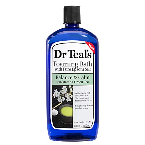 Dr Teal's Matcha Green Tea Foaming Bath with Epsom Salt, Balance & Calm 34 oz (Pack of 3)
