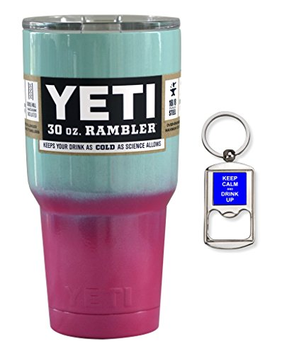 YETI Coolers Custom Stainless Steel 30 Ounce (30 oz) (30oz) Rambler Tumbler Cup Mug with Lid and Free Bottle Opener Keychain (Seafoam Pink Ombre Fade)