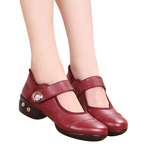 Xinantime Prom Ballroom Latin Ballet Dance Singles Shoes Women Ladies Dancing Rumba Waltz Leather Shoes Red ()