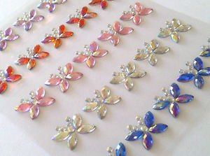 CraftbuddyUS 25 x 15mm MIXED AB Stick On Diamante BUTTERFLY Gems Self Adhesive Rhinestones Butterfly Gem