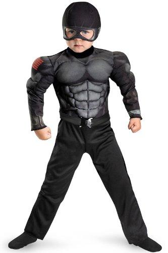 [G.i. Joe Retaliation Snake Eyes Toddler Muscle Costume, Black, Medium] (Gi Joe Snake Eyes Costume Kids)