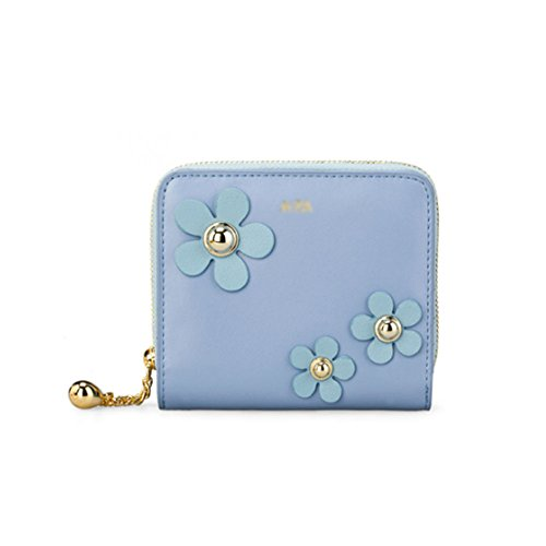 Leather Zip Wallet Square Multi-purpose Fashion Wallet Rivets Short Two-fold Wallet(blue)