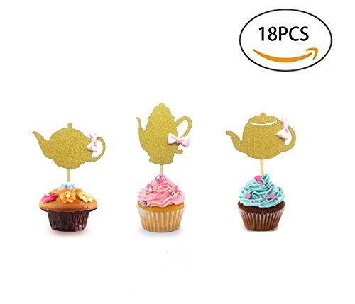 18Pcs Golden Glitter Teapot Cupcake Toppers,Food Picks Baby Shower Cake Decor And Cupcake Party Picks