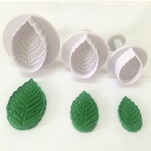 3-piece Plastic Veined Rose Leaf Plunger Cutter Set Fondant