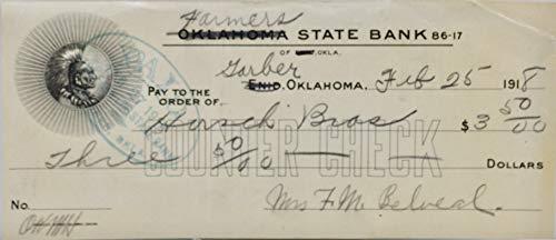 1918 - Vintage Bank Counter Check - Oklahoma State Bank/Farmers Bank - Feb 25 - Collectible - Rare