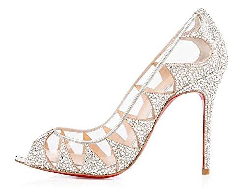 SYYAN Damen Leder Fisch Mund Heißes Bohren Handgemacht Pumpe Hochzeit Schuhe Weiß White