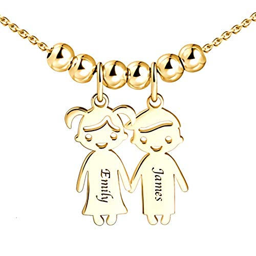 - Personalized 1 to 5 Children Charms Mothers Name Necklace in 925 Sterling Silver Rose Gold-Engraved Boy Girl Charm Necklace Ideal