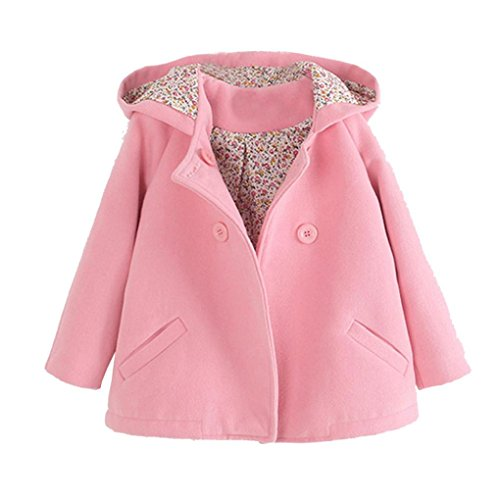 Fiaya Toddler Kids Baby Girl Winter Floral Hooded Double Breasted Wool Coat Cloak Jacket (Pink, (Double Breasted Hooded Wool)