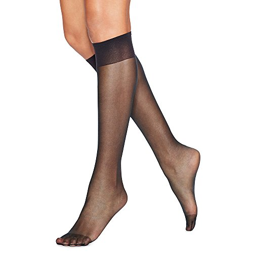Hanes Black Skirt (Hanes 775 Womens Silk Reflections Silky Sheer Knee Highs With Reinforced Toe 2 Pack, One Size - Jet)