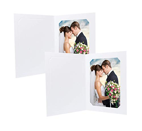 Golden State Art, Cardboard Photo Folder for 5x7 or 4x6 Pictures - Pack of 100 - White Color, Acid Free - Great for Weddings, Graduation, Engagements, Celebrations, Events