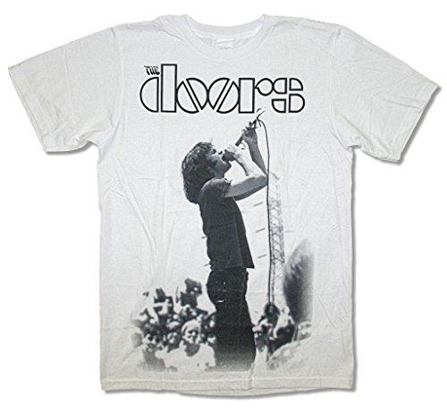 The Doors Live Jim Morrison Stage Jumbo Image White T Shirt Soft (L)