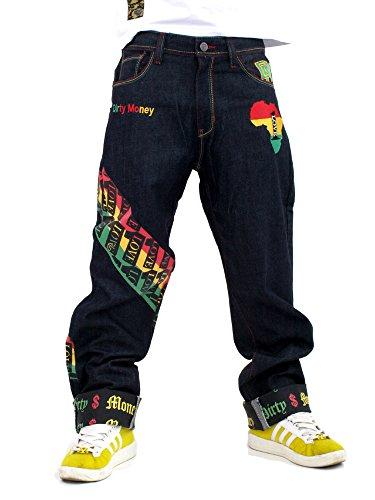 """DIRTY MONEY - Jeans """"One Love"""" Rasta Jeans DM # 00656 - Rohes Indigo Denim, W40"""