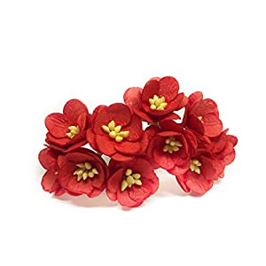 """1"""" Red Cherry Blossom Flower Artificial Flowers Paper Flowers Synthetic Flowers Fake Flowers Paper Craft Flowers Mulberry Paper Flowers Wedding, 25 Pieces 1"""