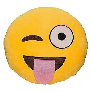 Rainbow Fox 32cm Emoji Smiley Kiss Poop Emoticon Yellow Round Cushion Pillow Stuffed Plush Soft Toy (smlie)